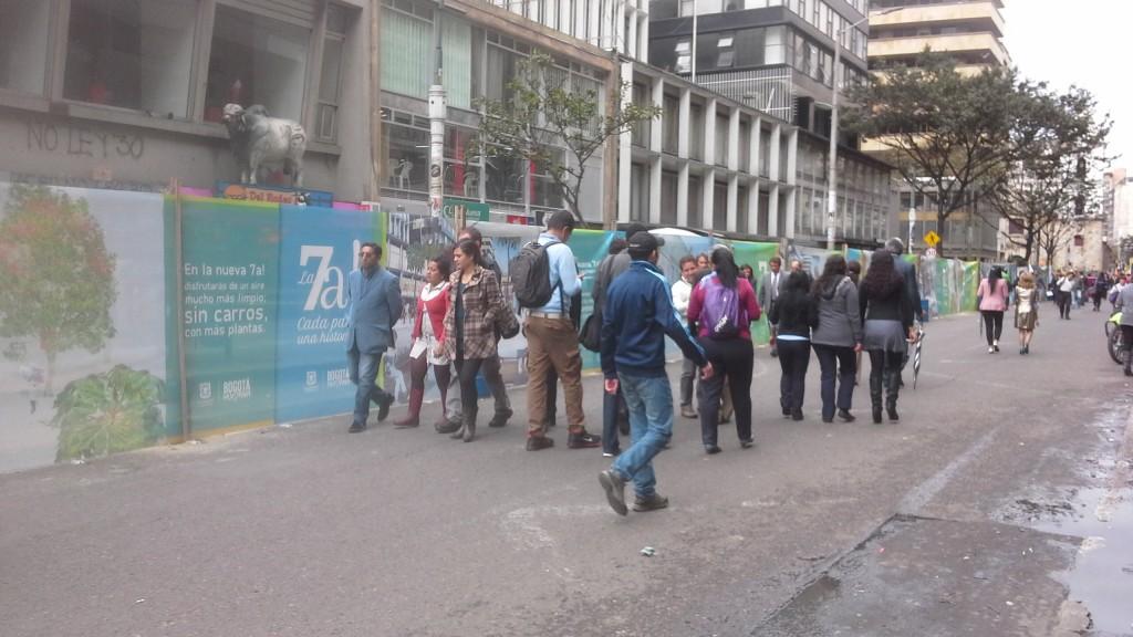 La carrera séptima de Bogotá, lleva al 2014, dos años de haber sido peatonalizada