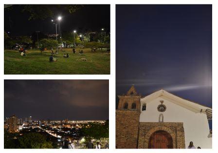 Turistas y ciudadanos caleños disfrutando del espacio gratuito de la Colina de San Antonio.