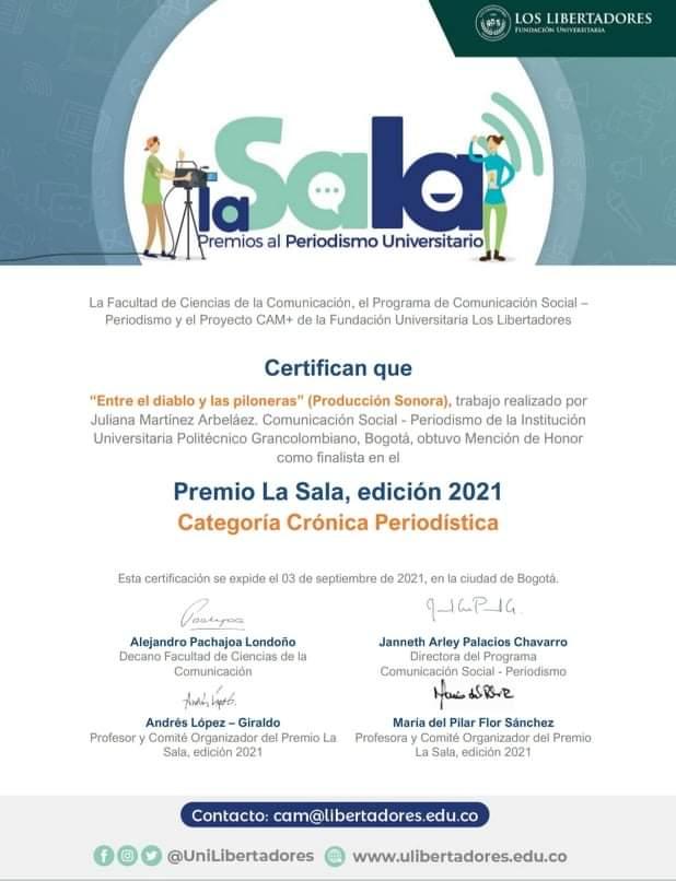 premios LA SALA Juliana Martínez